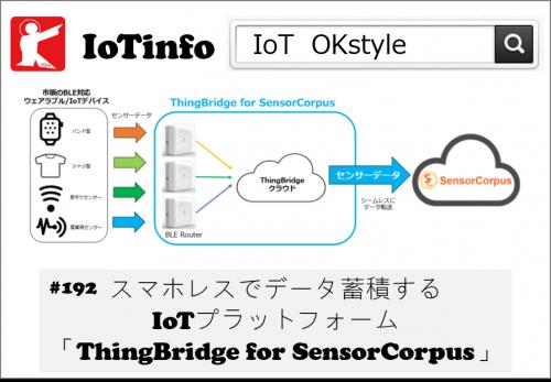 【IoTinfo】スマホレスでデータ蓄積するIoTプラットフォーム「ThingBridge for SensorCorpus」 #192