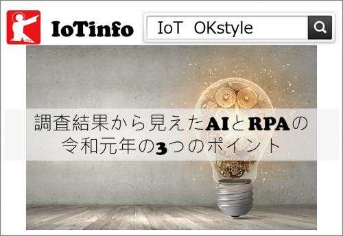 [IoTinfo]調査結果から見えたAIとRPAの令和元年の3つのポイント #197